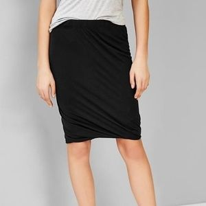Gap Black Jersey Twist Hem Pencil Skirt